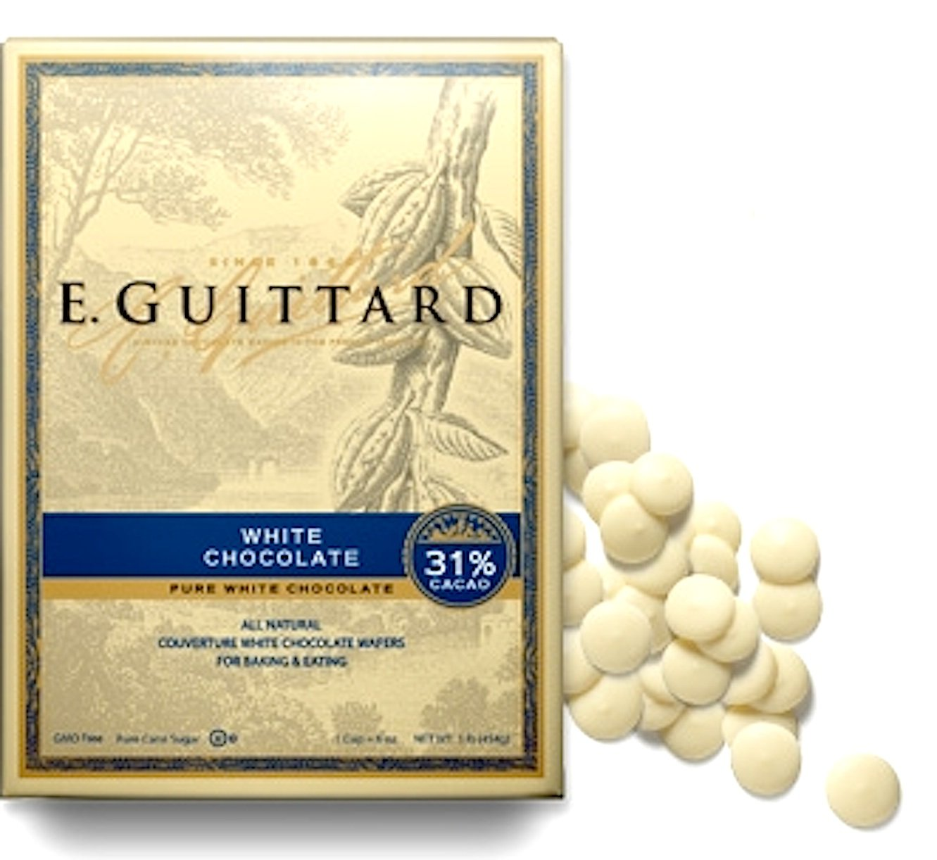 Guittard White Vanilla Melting Chocolate Apeels 1LB Bag