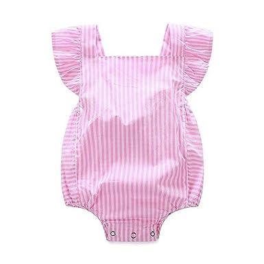 0c898388fd CH Baby Girls Pink Stripe Little Jumpsuit Romper Playsuit Toddler Bodysuit  (100cm)