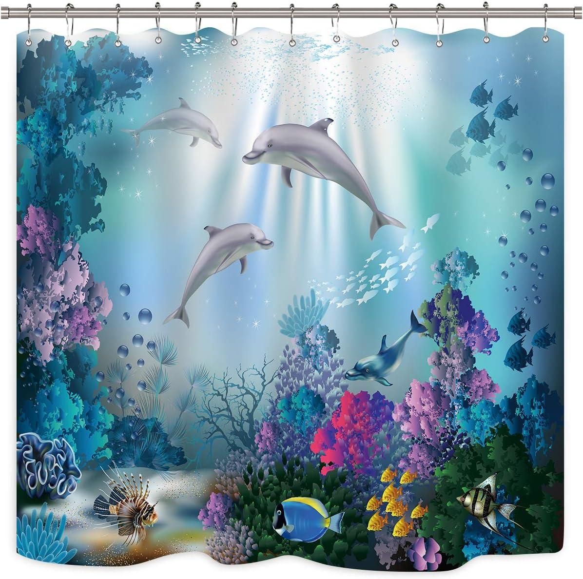 Riyidecor Dolphin Shower Curtain Underwater Algaes Coral Reefs Sunbeam Tropical Fish Marine Wildlife Ocean Animal Seabed Bathroom Decor Fabric Polyester Waterproof 72Wx72H Inch 12 Pack Plastic Hooks