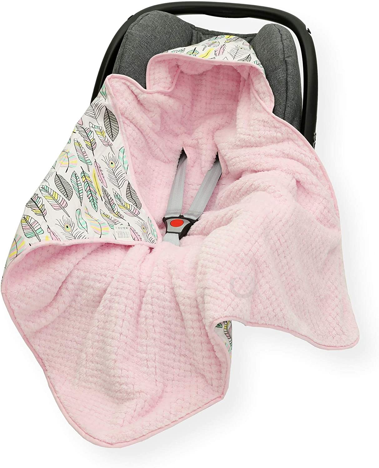 LG Grey Star on White//Grey CAR SEAT Baby Insert//Blanket//Cover//Cosy Toes//Foot muff Cotton /& Waffle-Effect Mink Plush 80 x 80cm Dual Layer with Hood