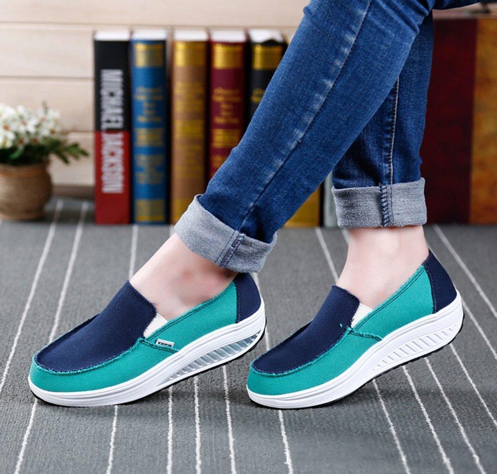 CAI Beiläufige Beiläufige Beiläufige rüttelnde Schuhe der Frauen 2018 Sommer zufällige Steigung mit Damen-Segeltuch-Erschütterungs-Schuhen Satz Fuß-Sport-Schuhen Eignung-Erschütterungs-Schuhen cab159