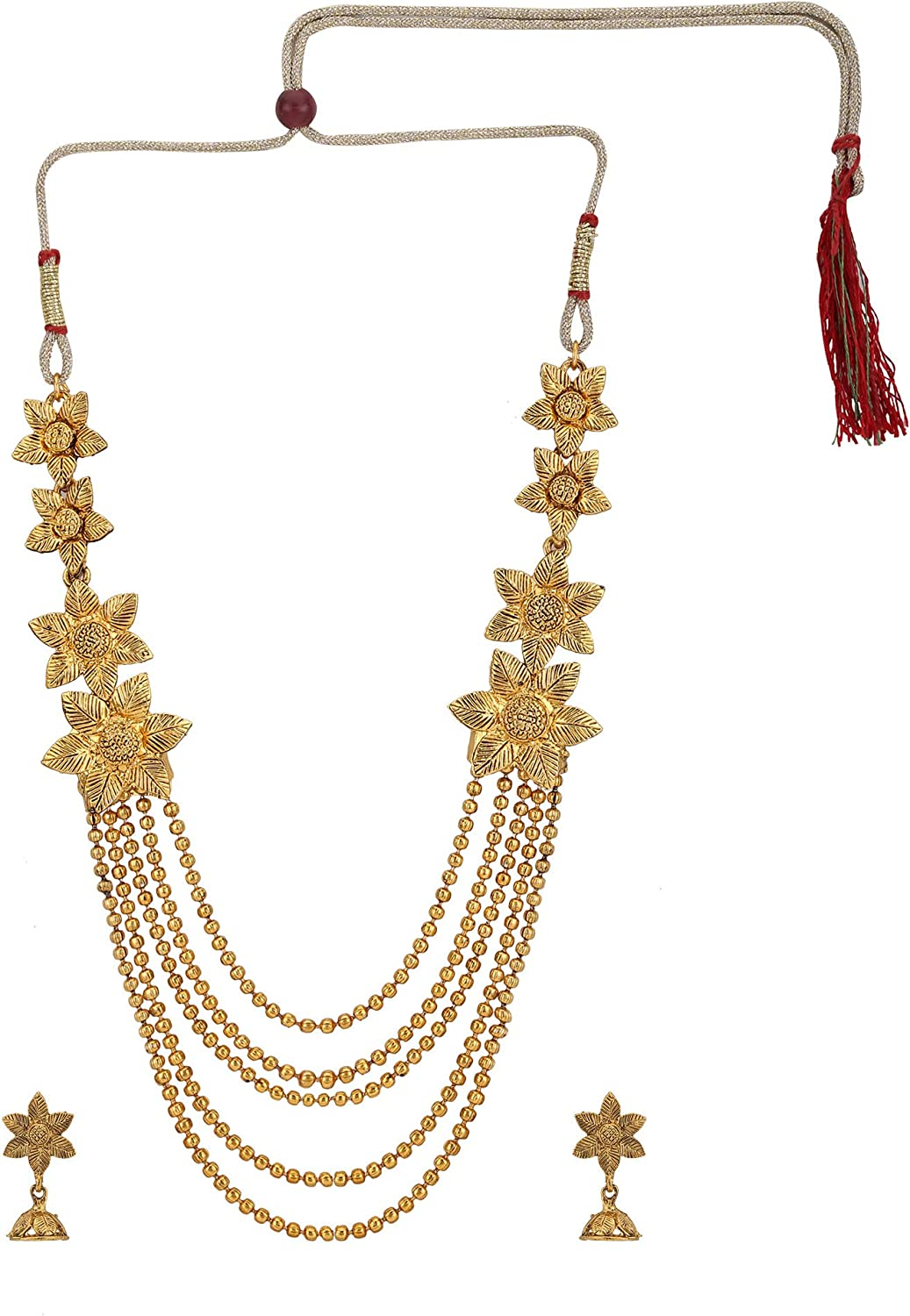 Efulgenz Indian Bollywood Traditional White Red Green Rhinestone Faux Ruby Emerald Heavy Bridal Designer Multistranded Lariat Necklace Set for Women and Girls (Style 4)