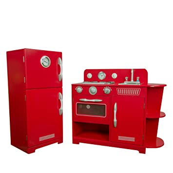 Teamson Kids   Classic Play Kitchen   Red (2 Pieces)