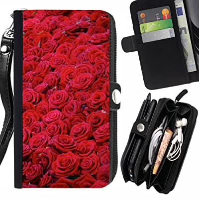 FJCases Rosas rojas Amor Flor Carcasa Funda Monedero Con Correa y Cremallera Carcasa Funda para LG V30
