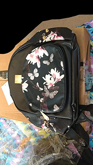 Donalworld Girl Floral School Bag Travel Cute PU Leather Mini Backpack S Black3 Great!!