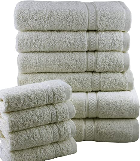 Casabella - Juego de toallas de baño (10 unidades), algodón, crema, 10 unidades: Amazon.es: Hogar