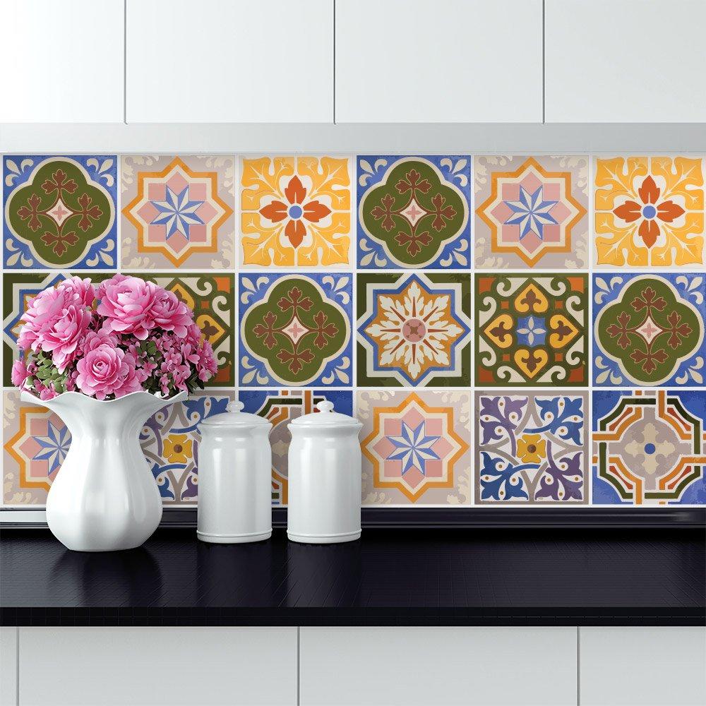wall art (Confezione 24 Pezzi) adesivi per piastrelle formato 20x20 ...