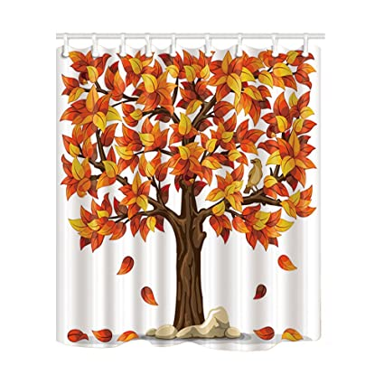 NYMB Autumn Fall Leaves Decor Cartoon Bird Stand On The Tree Kids Shower Curtain