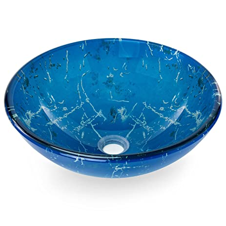 Elegant Miligoré Modern Glass Vessel Sink   Above Counter Bathroom Vanity Basin  Bowl   Round Blue U0026