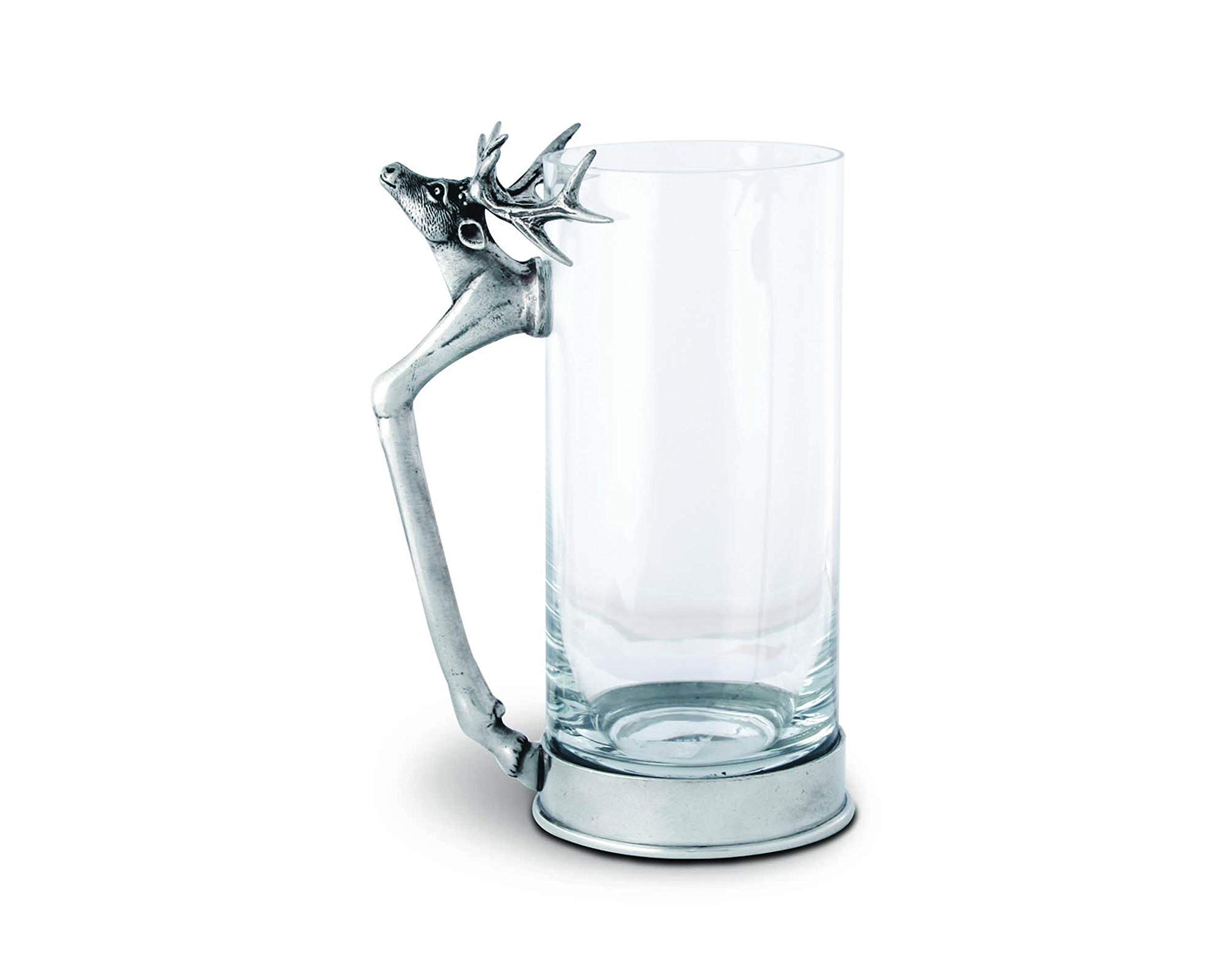 Vagabond House Drinking/Bar Glass with Pewter Deer Head and Leg Handle - 6'' Tall