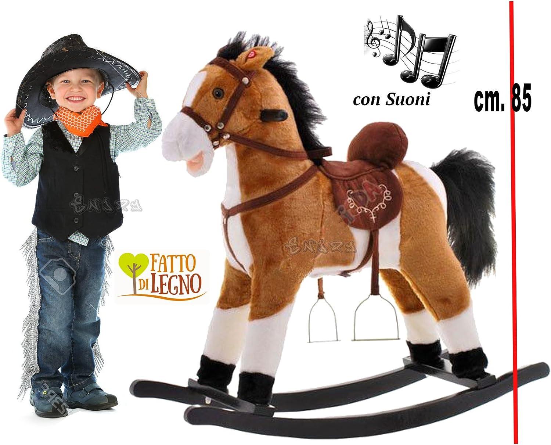 Cavallo a Dondolo Con Ruote e Suoni Reali Peluche Bambini Gioco  Idea Regalo
