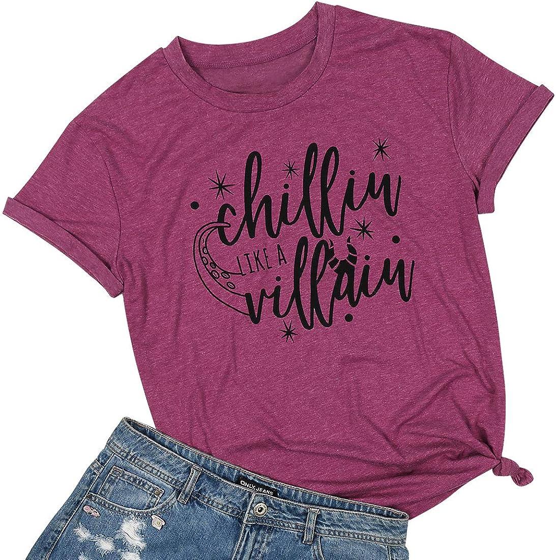 KNEYATTA Women Chillin Like a Villain Tshirts Funny Letter Print Tee Tops Casual Short Sleeve Shirts Top