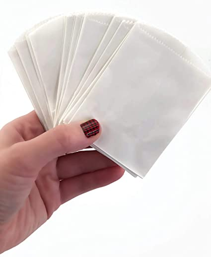 Amazon.com: 50 mini bolsas de papel blanco – 1.6 x 1.0 in ...