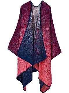 Cape Poncho Femme - Foulard Couverture Élégant Vintage Chaud Châle Automne  - Rouge d2e5115b4a0