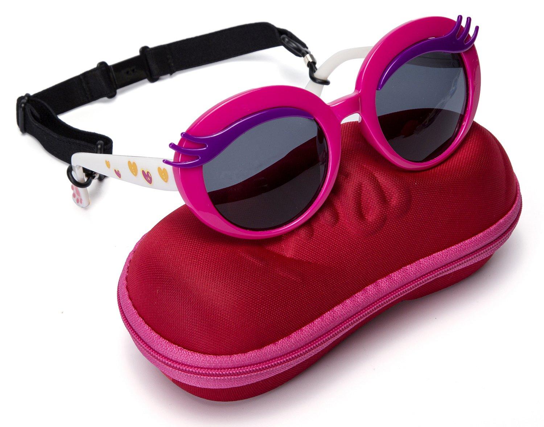 Comcl Girls Eyelash Polarized Sunglasses - UV Protection Kids Sunglasses 45mm Fit for Aged 4-9 With Shoe Shape Case