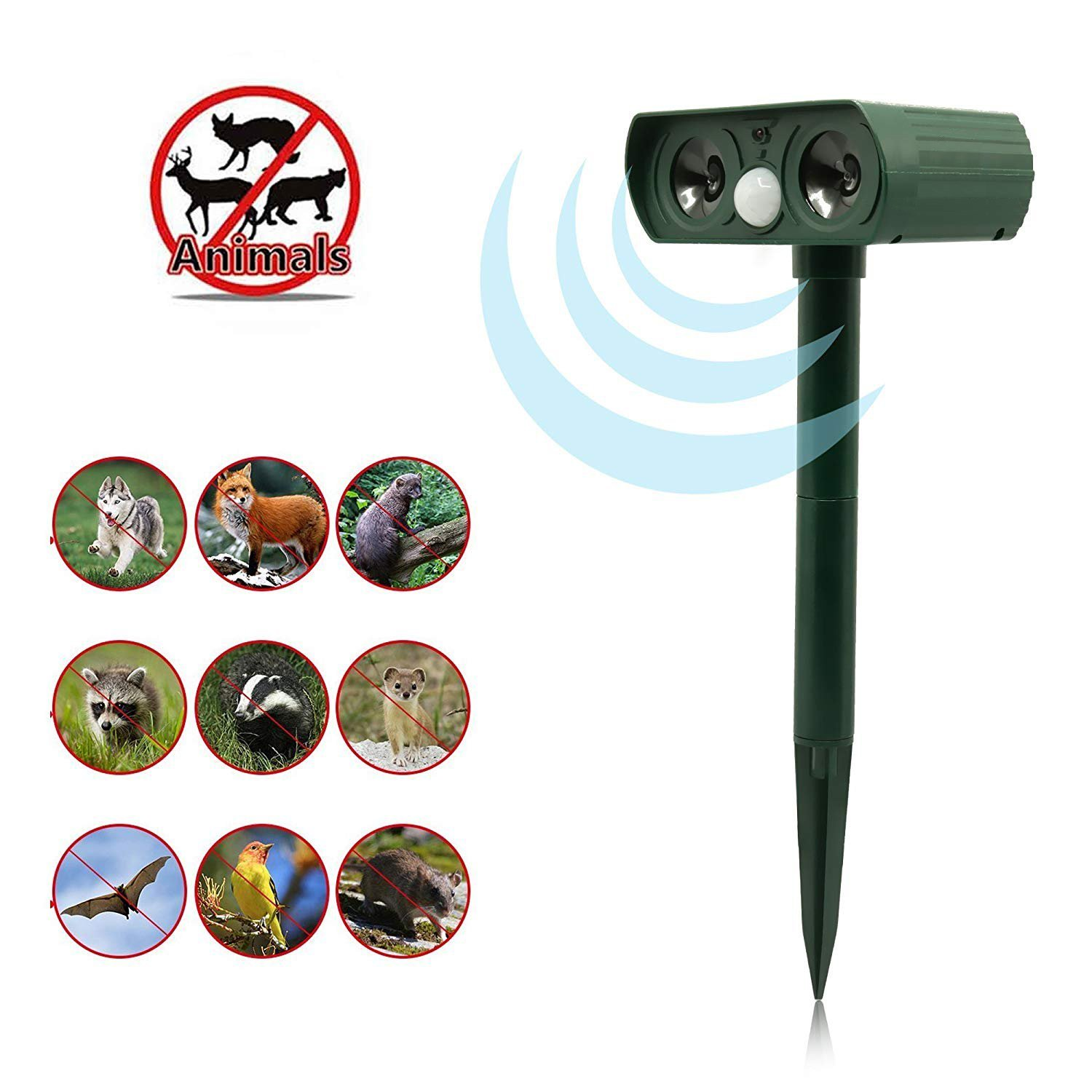 PetIsay Ultrasonic Animal Repeller, Solar Powered repellent with Motion Sensor Ultrasonic and Red Flashing lights Outdoor Waterproof Farm Garden Yard, Cats, Dogs, Foxes, Birds, Skunks, rodents