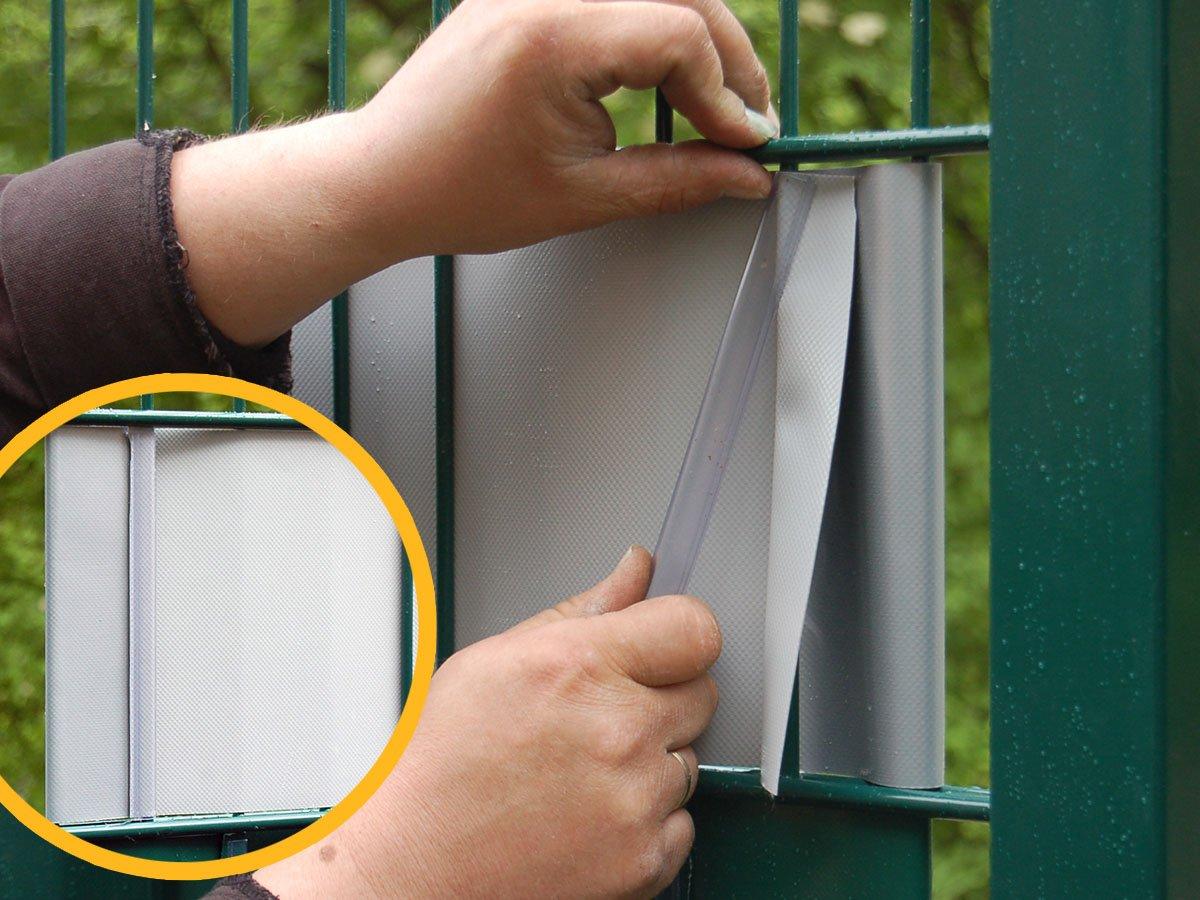 Sichtschutz zum Doppelstabzaun anthrazit Rolle á 70 m inkl 12