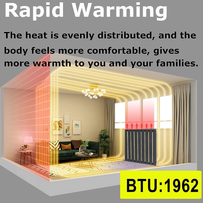 Colonne simple Fixations incluses Gris anthracite Radiateurs horizontaux /à panneau plat pour salle de bain ou cuisine 600 x 612 mm Chauffage central