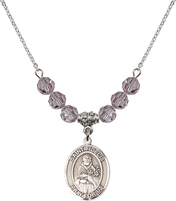 Bonyak Jewelry 18 Inch Rhodium Plated Necklace w// 6mm Light Purple February Birth Month Stone Beads and Saint Fidelis Charm