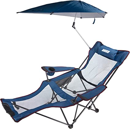 ANIGU Mesh Recliner Chair with Umbrella and Footrest (Blue