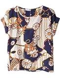 Vobaga Femme Chemisiers blouses Coeur oiseau Impression en Mousseline de Soie Manches Courtes Chauve Souris Haut T-shirts