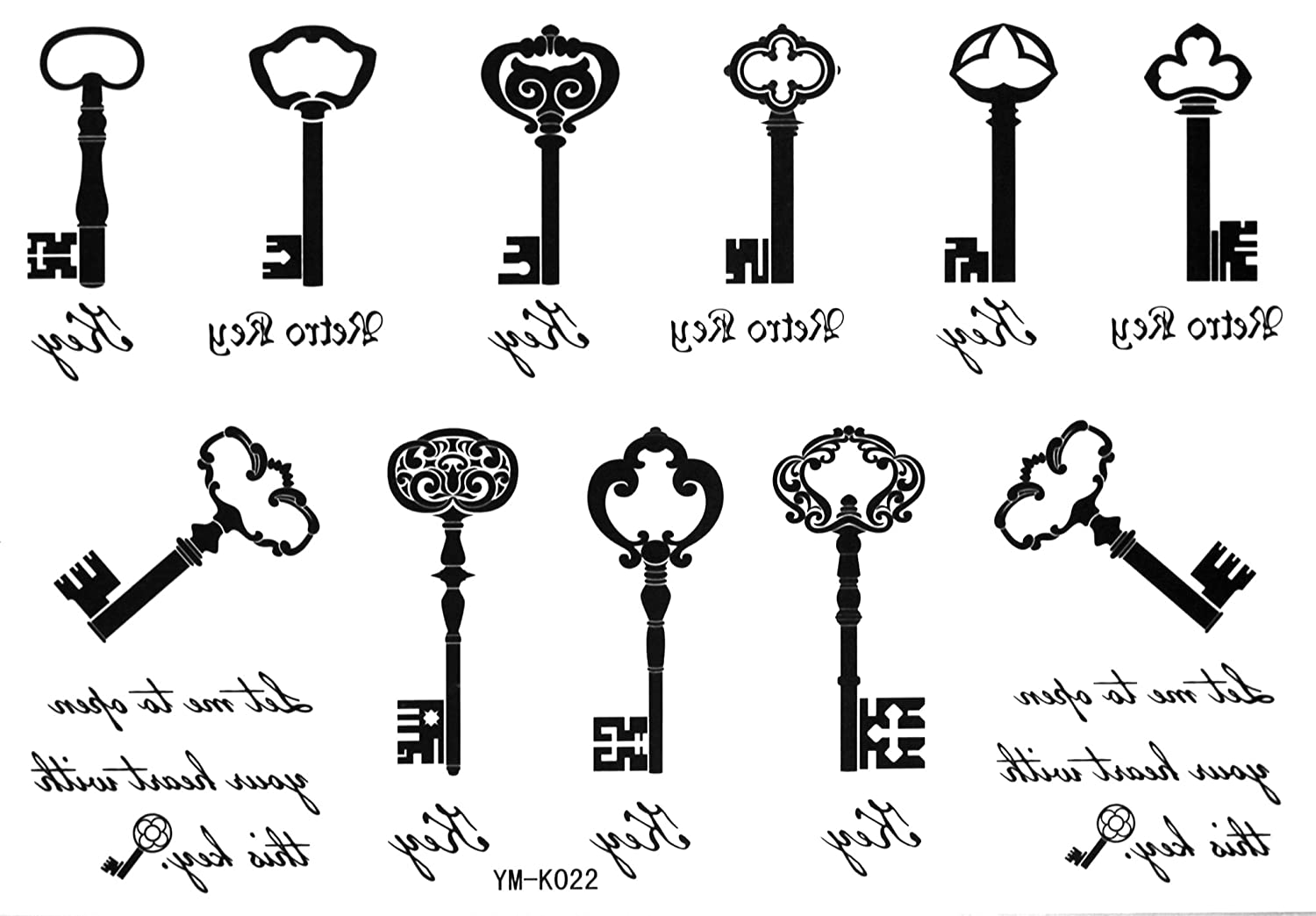 Amazon Com Key Tattoo Stickers Waterproof For Men Women The Black White Letter Keys Tattoos Totem Temporary Tattoo Stickers Body Paint Makeup Beauty Skeleton key tattoos for men. key tattoo stickers waterproof for men women the black white letter keys tattoos totem temporary tattoo stickers