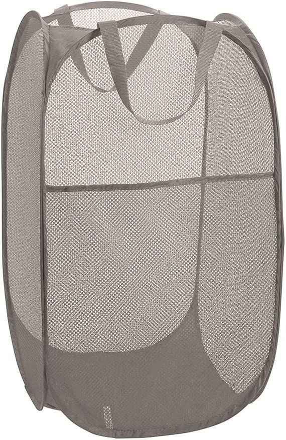Deluxe Strong Mesh Pop up Laundry Hamper Basket with Side Pocket for Laundry Room, Bathroom, Kids Room, College Dorm or Travel Grey