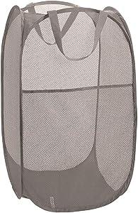 Deluxe Strong Mesh Pop up Laundry Hamper Basket with Side Pocket for Laundry Room, Bathroom, Kids Room, College Dorm or Travel Grey