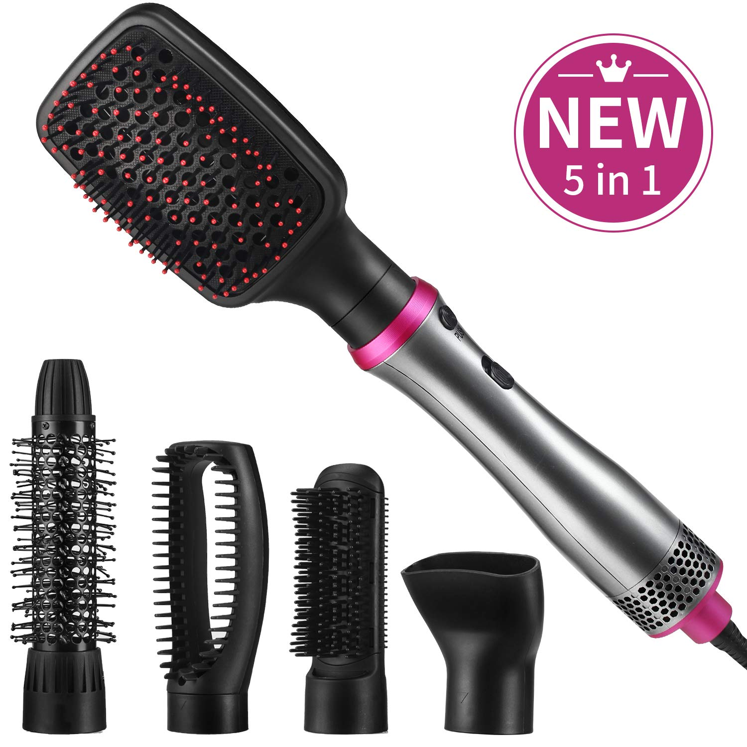 Hair Dryer Brush,ASOGO 5 In 1 Hot Air Brush Multifunctional One Step Hair Styler Volumizer for Drying Straightening Curling Styling Salon Negative Ion Hair Comb Blow Dryer Brush Grey 110V US outlet