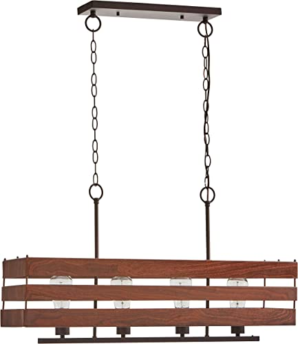 Stone Beam Rustic Industrial Faux Wood Metal Ceiling Chandelier Fixture with 4 Edison Light Bulbs – 33 x 7 x 17.5 Inches, 17.5 Inch Cord, Oil-Rubbed Bronze