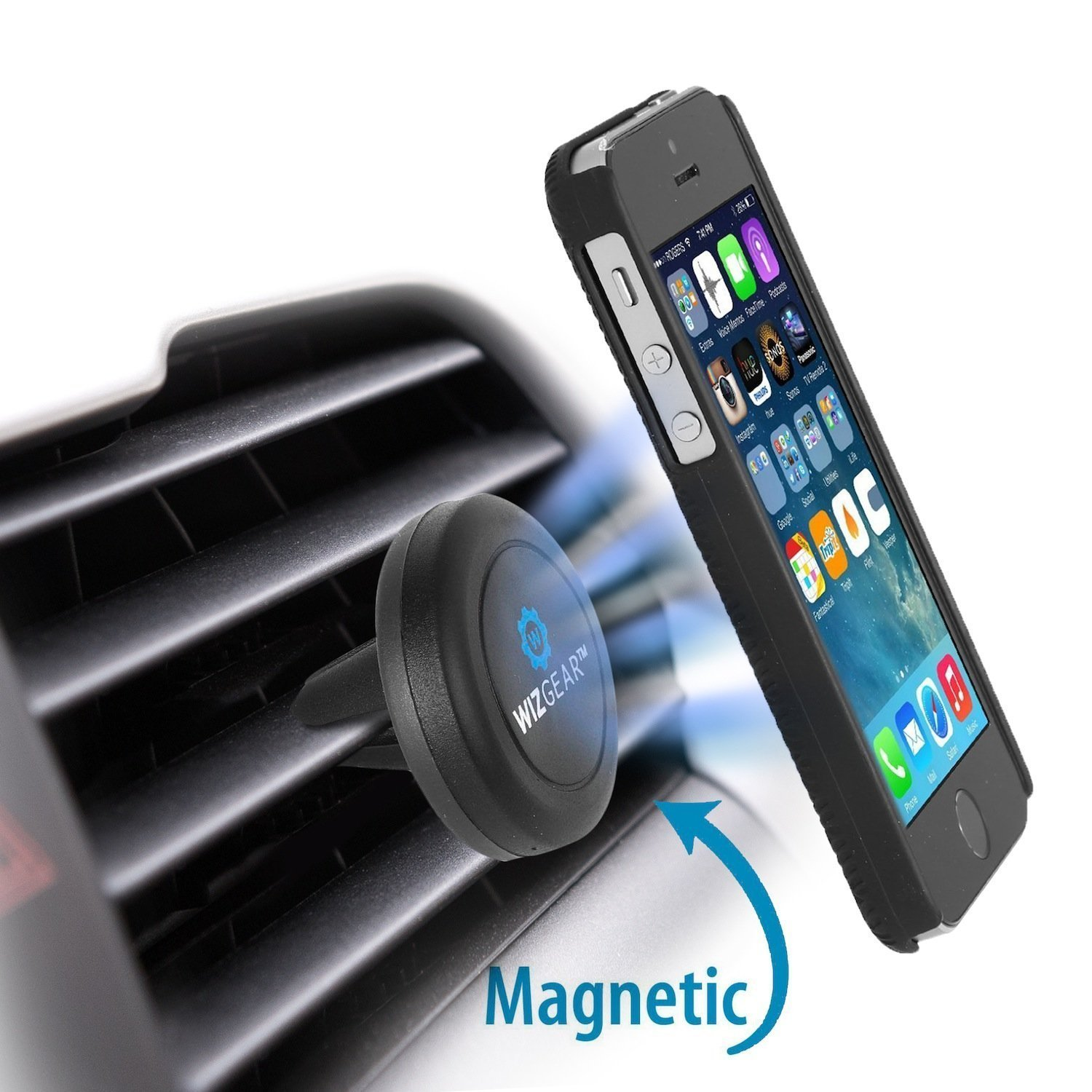 Amazon com wizgear universal air vent magnetic phone car mount holder with fast swift snap technology for smartphones and mini tablets black cell phones