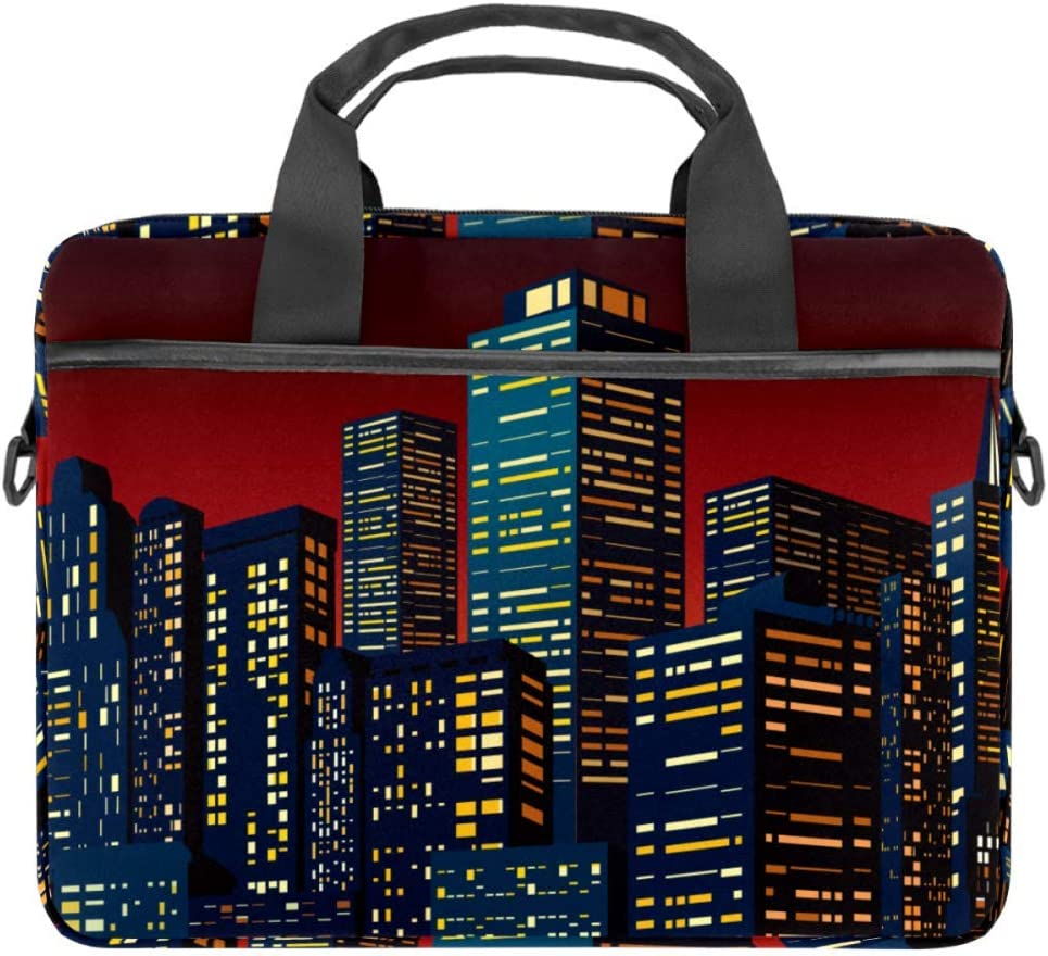Cityscape with Group of SkyscrapersLaptop Case Canvas Pattern Briefcase Sleeve Laptop Shoulder Messenger Bag Case Sleeve for 13.4-14.5 inch Apple Laptop Briefcase