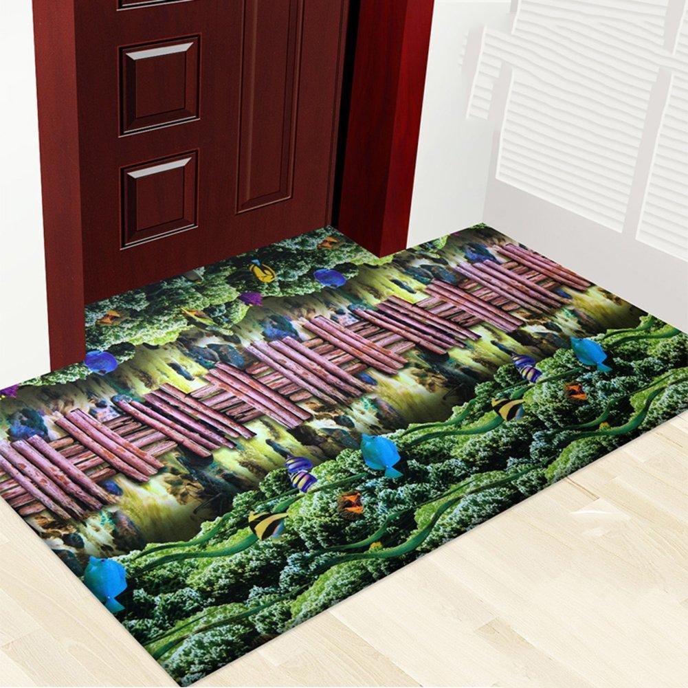 NRQU 3D color printing plant flower mat mat,Carpet non-slip foot mat Indoor mat [hall] Home door Door mats-D 120x180cm(47x71inch)