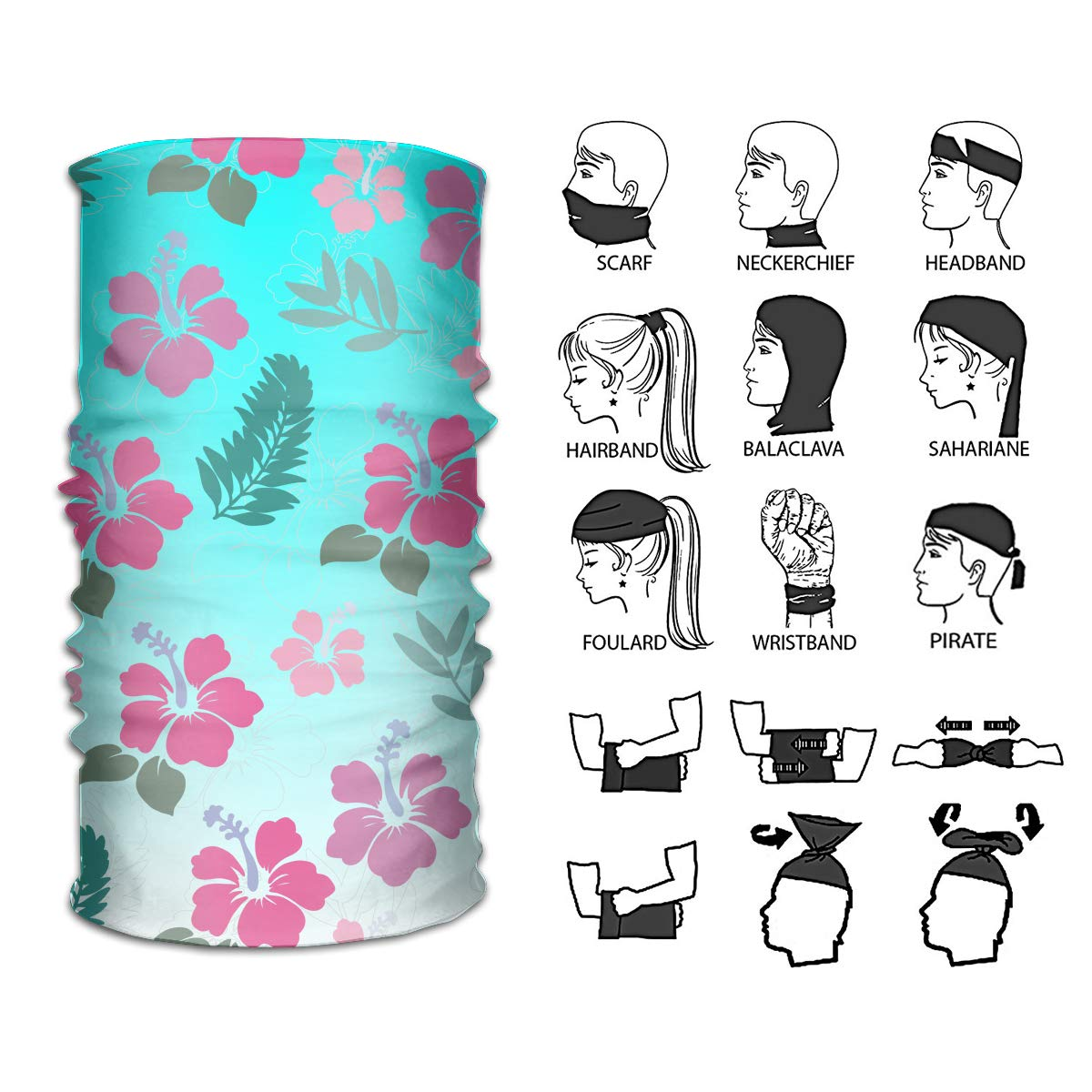 f4951ecbccfc Amazon.com   Ivanfield Hibiscus Hawaii Tropical Flower Plants Outdoor  Multi-use Seamless Headband Tube Bandana Headwrap Headscarves Fashion Magic  Scarf ...