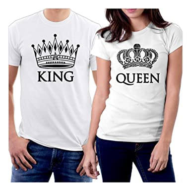 ac415bc90cb6 picontshirt King and Queen Couple T-Shirts Men XXL Women XS White Crowns