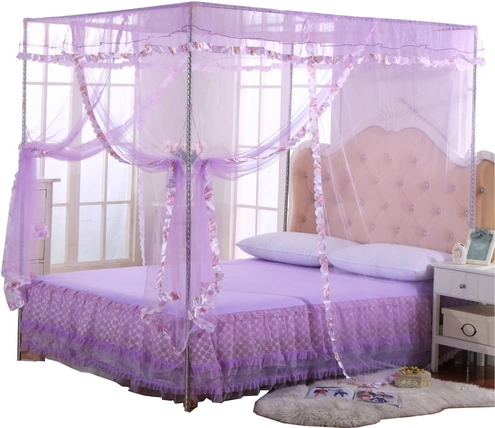 JQWUPUP Mosquito Net for Bed - 4 Corner Canopy for Beds, Canopy Bed Curtains, Bed Canopy for Girls Kids Toddlers Crib, Bedroom Decor (Queen Size, Purple)