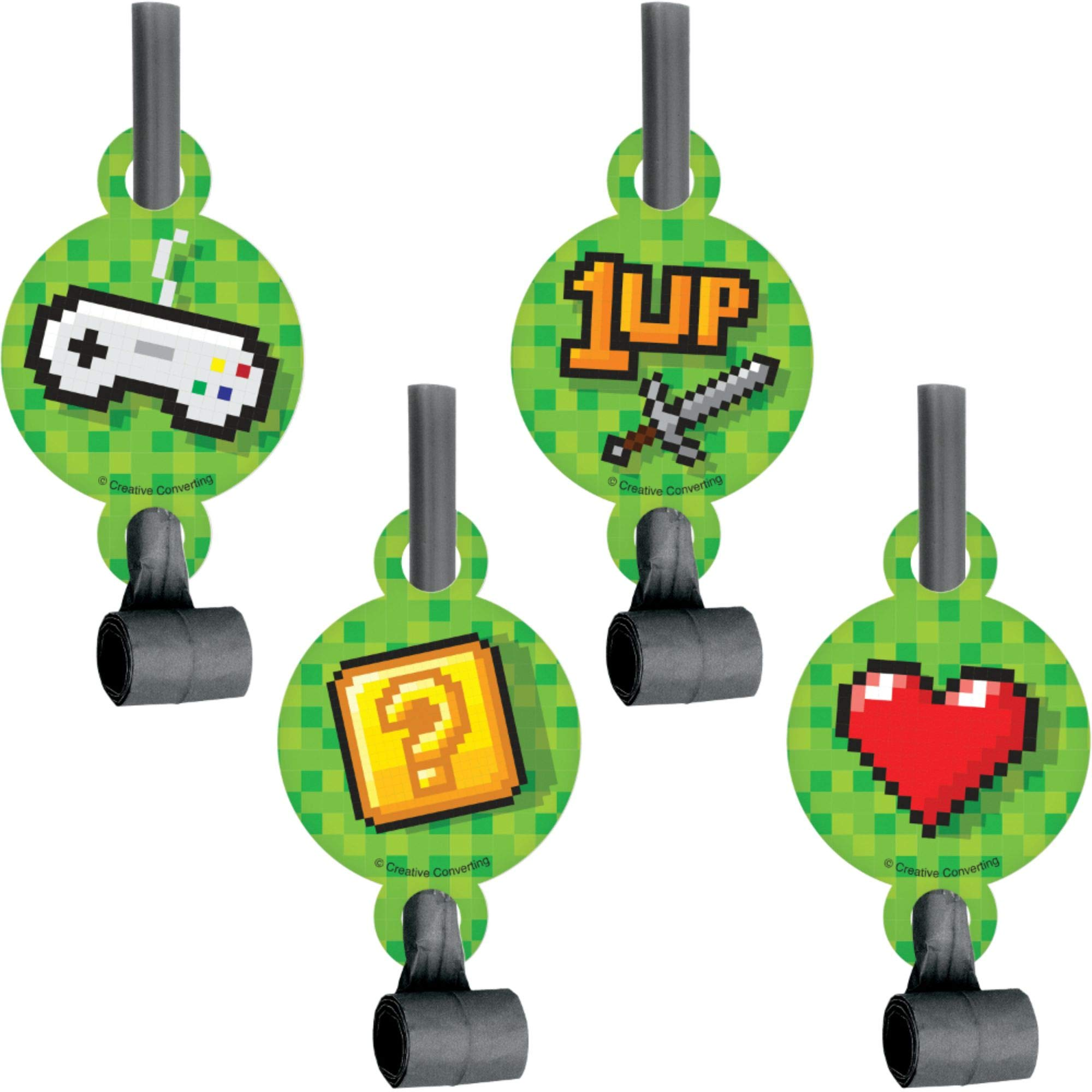 Club Pack of 48 Green and Gray Video Game Themed Blowout Party Noisemakers 5.25'' by Party Central