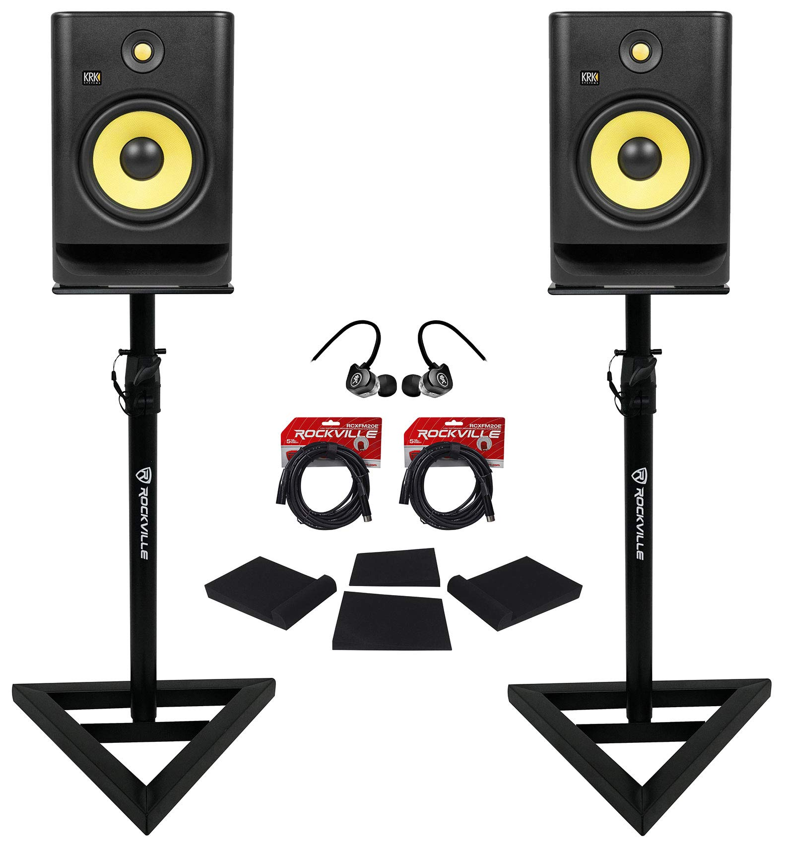 (2) KRK RP8-G4 Rokit Powered 8'' Studio Monitors+Stands+Pads+Cables+Earbuds