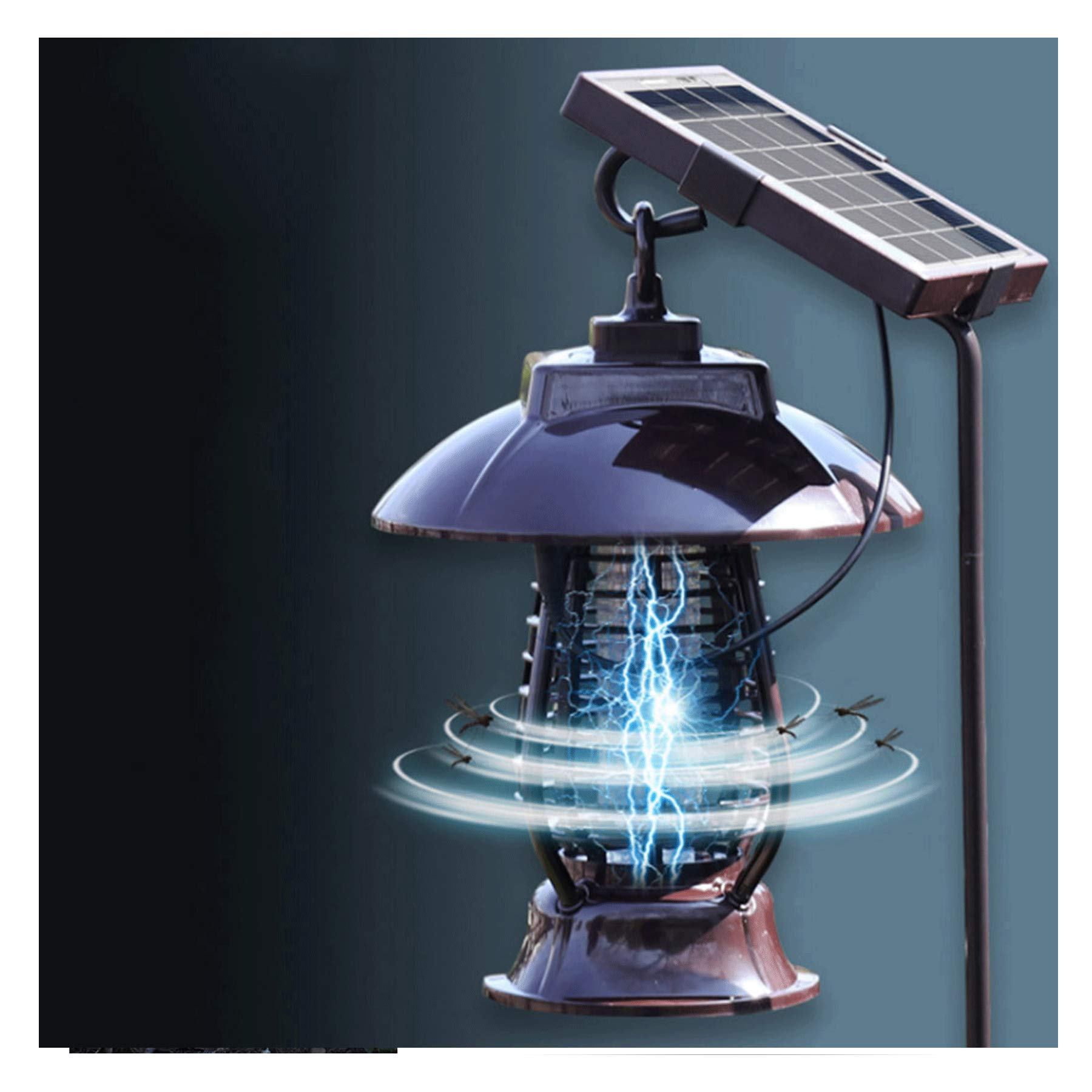 FILOL New Solar Powered Bug Zapper Mosquito Trap Killer Lamps Bug Zapper Pest Insect Outdoor Indoor Garden Lawn Waterproof Gold Lamp Eliminator in Lawn Residential Ground Garden Patio by FILOL household products