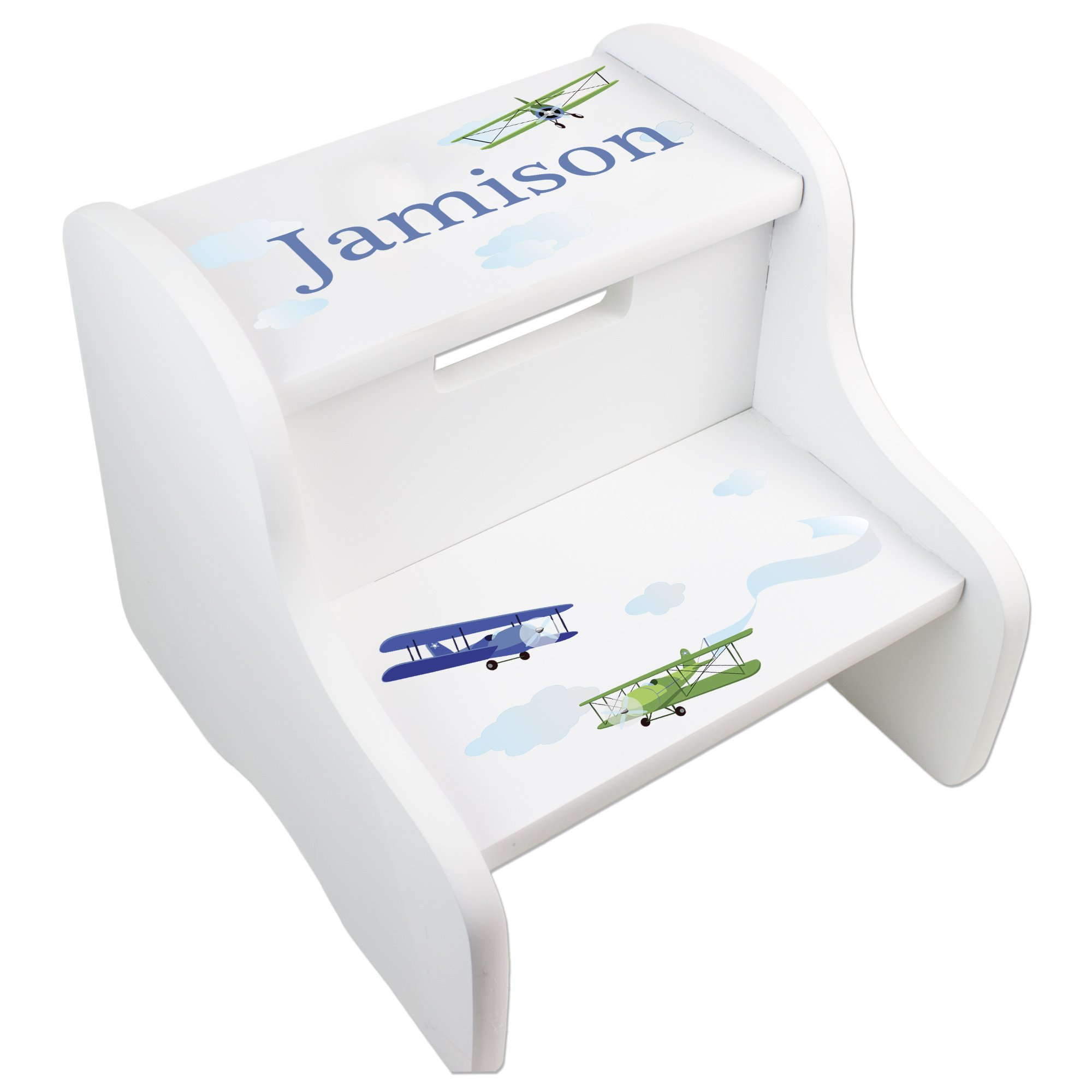 Personalized Boys Airplane White Step Stool by MyBambino