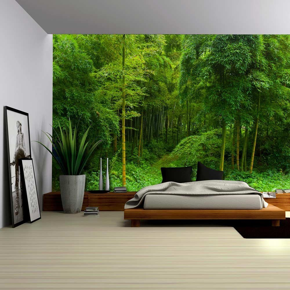Hidden path in a bamboo forest wall mural removable for Bamboo forest mural