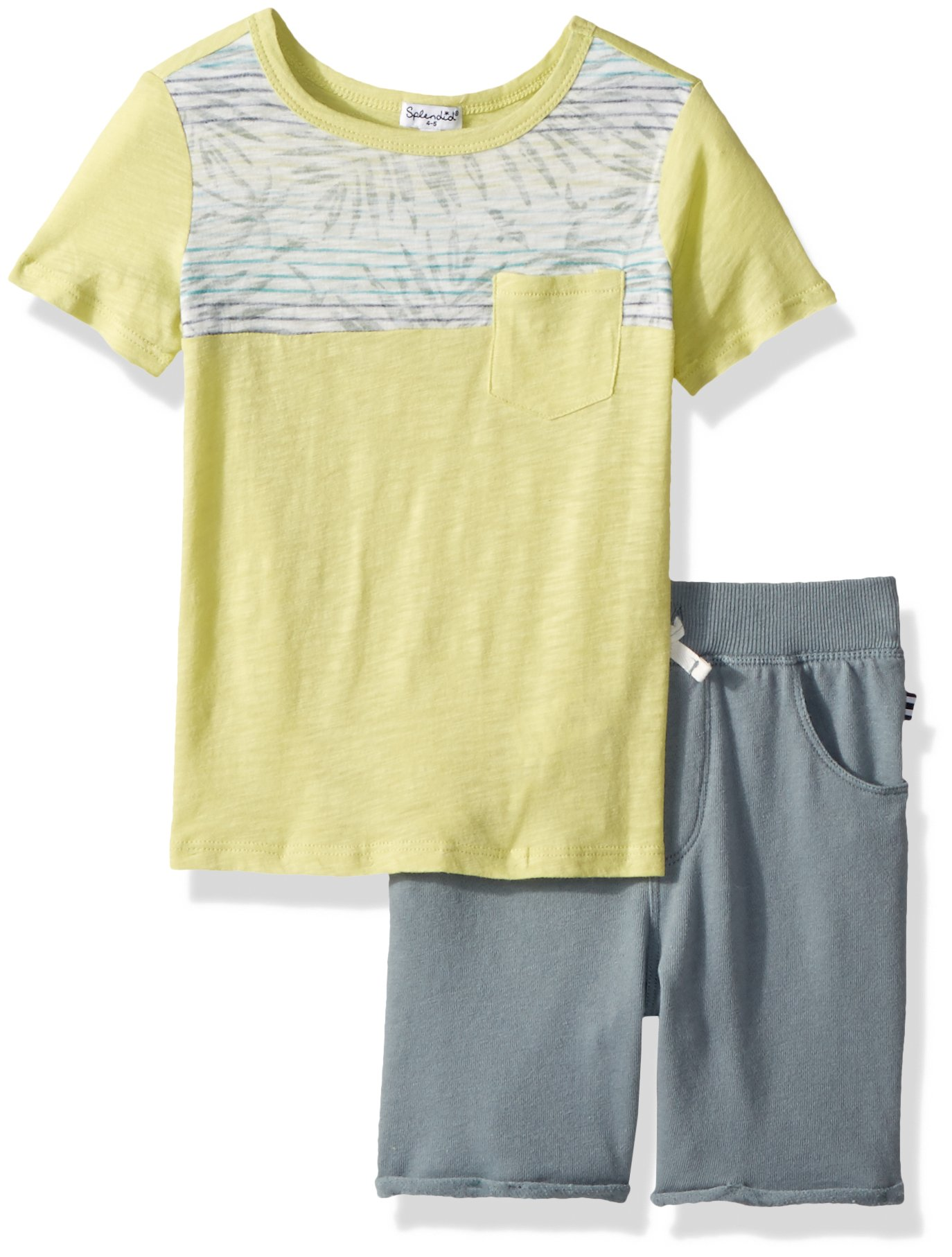 Splendid Toddler Boys' Reverse Print Top Set, Seafern, 4T