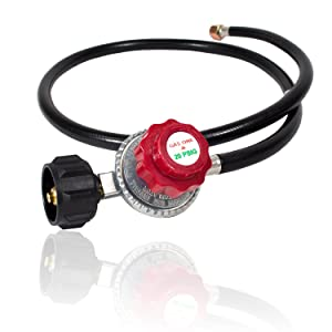 Gas One 4FT High Pressure Propane 0-20 PSI Adjustable Regulator with 4ft QCC-1 type Hose - CSA Certified - Works With Newer U.S. Propane Tanks