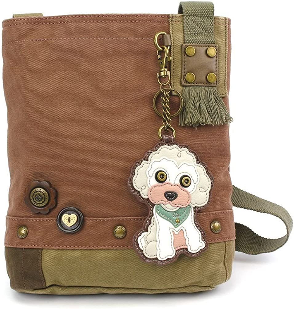 Mauve Chala Womens Canvas Patch Crossbody Handbag Poodle