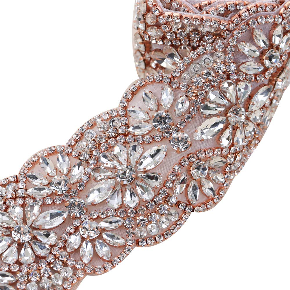 Rose Gold Rhinestone Wedding Dress Applique Sparkly for Bridal Ribbon Belt Iron on Jeweled Crystal Thin Sash Applique for Women Formal Prom Evening Bridesmaid Gown by XINFANGXIU