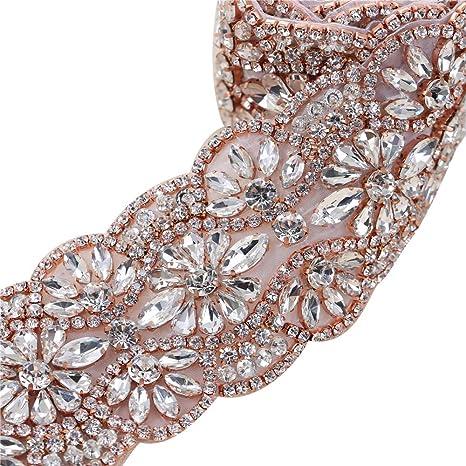 Rose Gold Rhinestone Wedding Dress Applique Sparkly for Bridal Ribbon Belt  Iron on Jeweled Crystal Thin 360a05281ad4