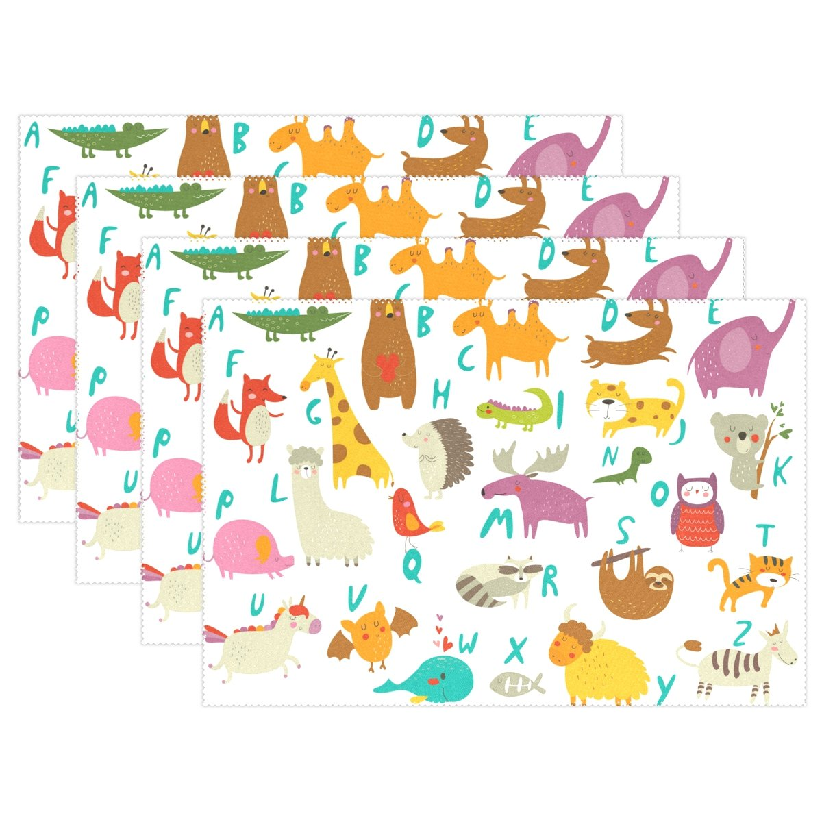 Top Carpenter ABC Alphabet With Cute Animals Place Mats Washable Heat Resistant Polyester Table Mats 12'' x 18'', Set of 4