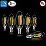LED Candelabra Bulbs with E12 Base Dimmable E12 LED Bulbs 40W Equivalent Halogen Replacement 2700K Warm White 4W Filament Candle Light Bulbs with 400 Lumen 6 Packs by COOWOO