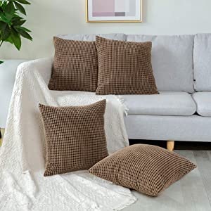 Otostar Corduroy Decorative Throw Pillow Cover Pack of 4 Home Decor Soft Cushion Covers Square Pillowcase Decorations for Sofa Couch Office Bedroom Chair Car (Granules Brown, 18''x18'')
