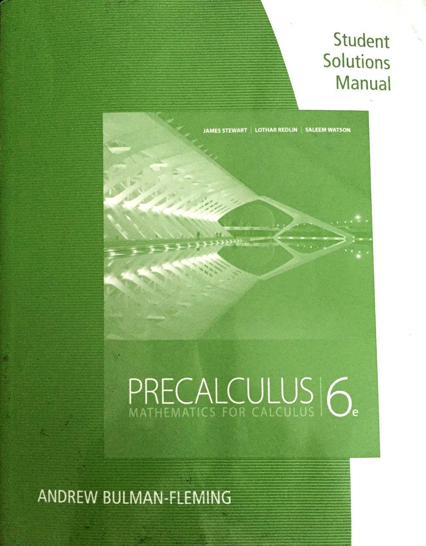 Buy Precalculus Student Solution Manual Mathematics For